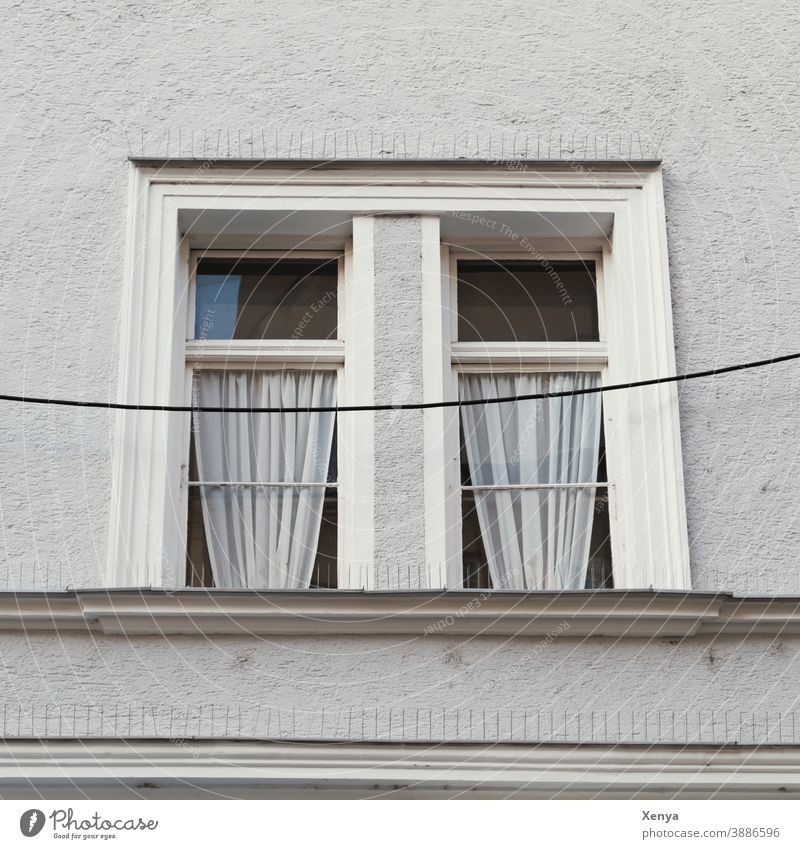 windows Window Gray Loneliness Sadness Facade Wall (building) Building Gloomy Exterior shot Deserted Wall (barrier) House (Residential Structure) curtains Cable