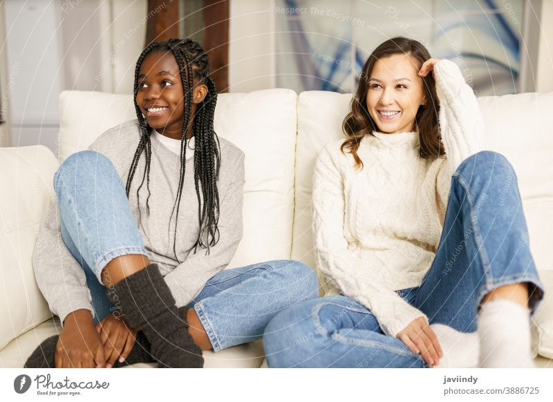 Two female student friends smiling together on the couch at home. women multiethnic multiracial laughing house black afro lifestyle girl smile two fun people