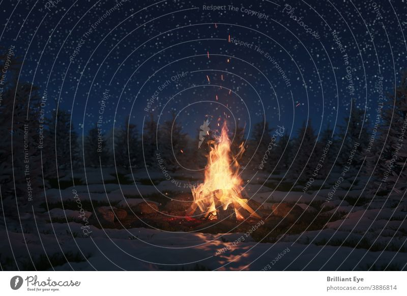 big campfire in the snowy nature and in front of a beautiful starry sky Abstract Adventure Starry sky pretty Large blazing Blue Bonfire Bright Burn Storage