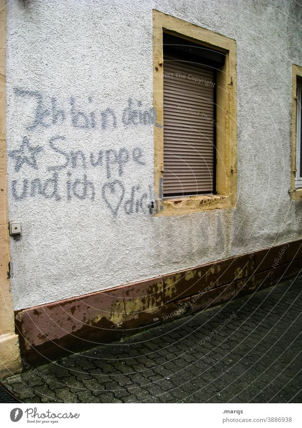 *soup house wall Window Characters Graffiti Love Romance Declaration of love Heart Valentine's Day Display of affection Infatuation Emotions