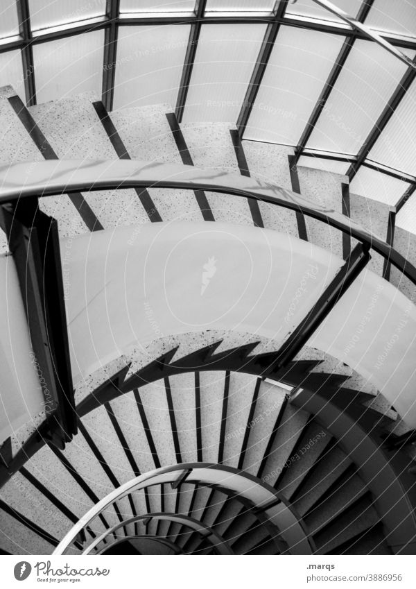 half staircase Stairs Winding staircase Shadow Architecture rail Downward Spiral Perspective Go up Tall Descent Interior design