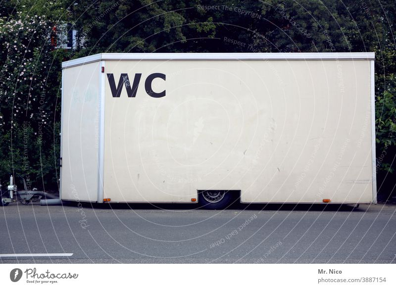 WC trailer toilet car Toilet Site trailer Feasts & Celebrations Event Trailer Characters lettering Mobility Lanes & trails turned off Signs and labeling
