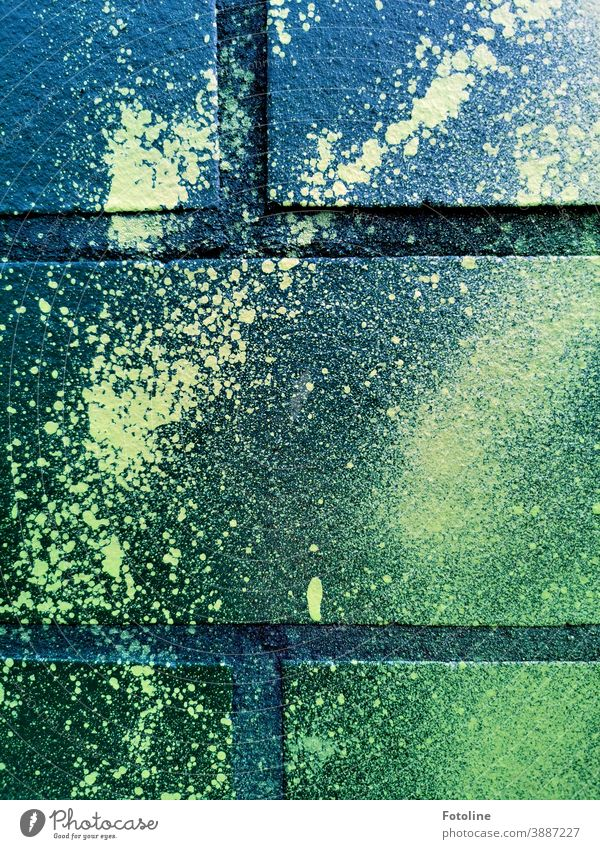 Green paint that used to be graffiti on a wall... Graffiti Brick Brick wall brick wall Brick facade Bricks Colour colored Facade Exterior shot
