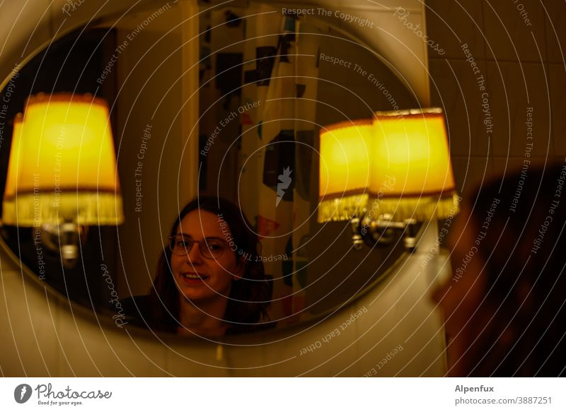Mirror... Mirror image Woman Reflection Young woman Looking Face Youth (Young adults) 18 - 30 years Feminine Colour photo Interior shot Long-haired