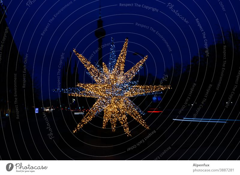 Great Star Berlin Christmas decoration Christmas fairy lights Christmas & Advent Berlin TV Tower Downtown Berlin Television tower Landmark Fairy lights