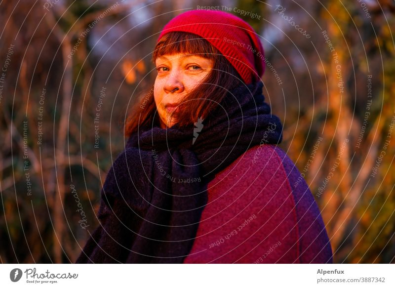 Souled Woman Feminine Face Adults Hair and hairstyles fortunate Human being portrait Colour photo Exterior shot Day Shallow depth of field