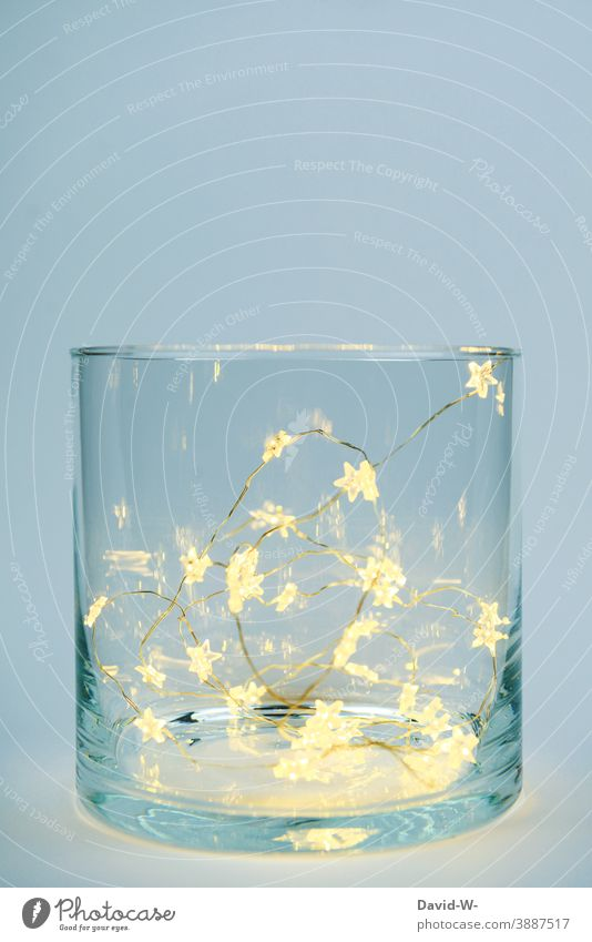 Christmas decoration - A glass filled with shining stars Fairy lights Christmassy Festive pretty Illuminate Placeholder Christmas & Advent Anticipation