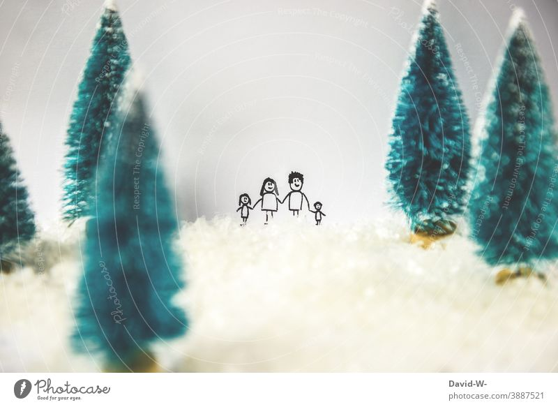 Christmas - Family between snowy fir trees Christmas & Advent Miniature Snow Cute Together Winter