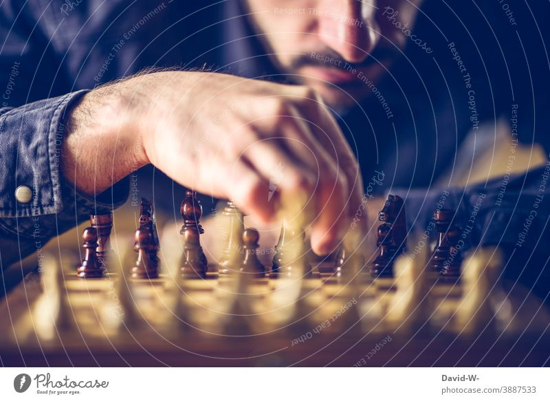 Strategy and tactics in chess Chess strategy Tactics Player thoughts concept Intellect Chessboard Battle savvy Hand