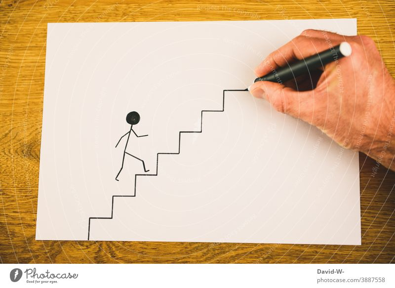 It's going up Success Upward Go up Career Stairs Stick figure concept assistance Creativity Prospect of success helping hand Perspective