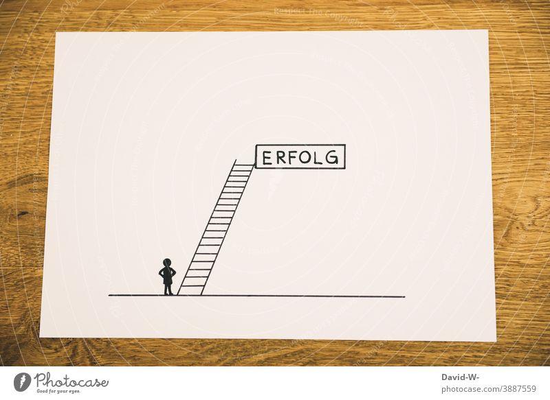 road to success Prospect of success Success Drawing concept Stick figure Creativity Ladder Success concept Upward Target Career