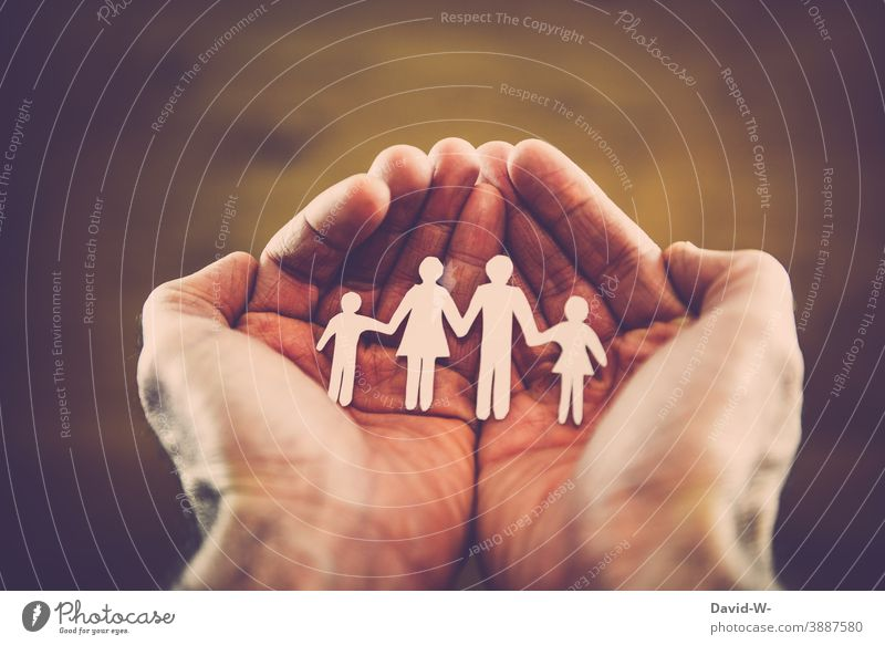Family in the hands - Concept Attachment Love Safety (feeling of) Life Desire planning Together Family planning Happy Domestic happiness