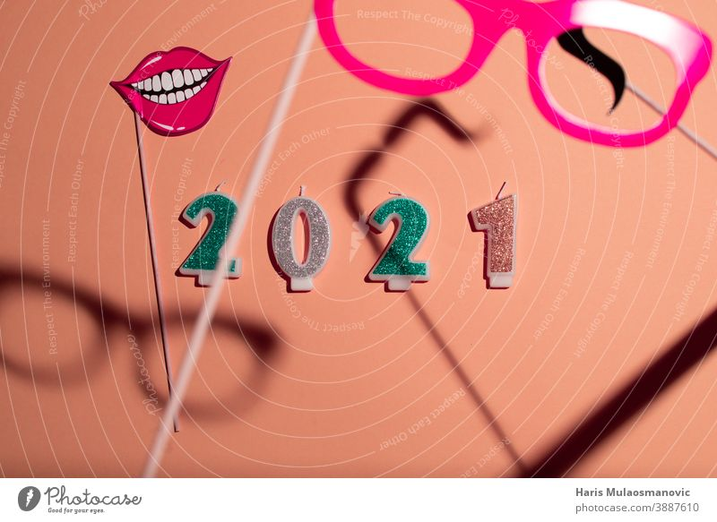 2021 new year with candle numbers on pastel color background vintage advertising banner black calendar candles card celebration christmas collage countdown