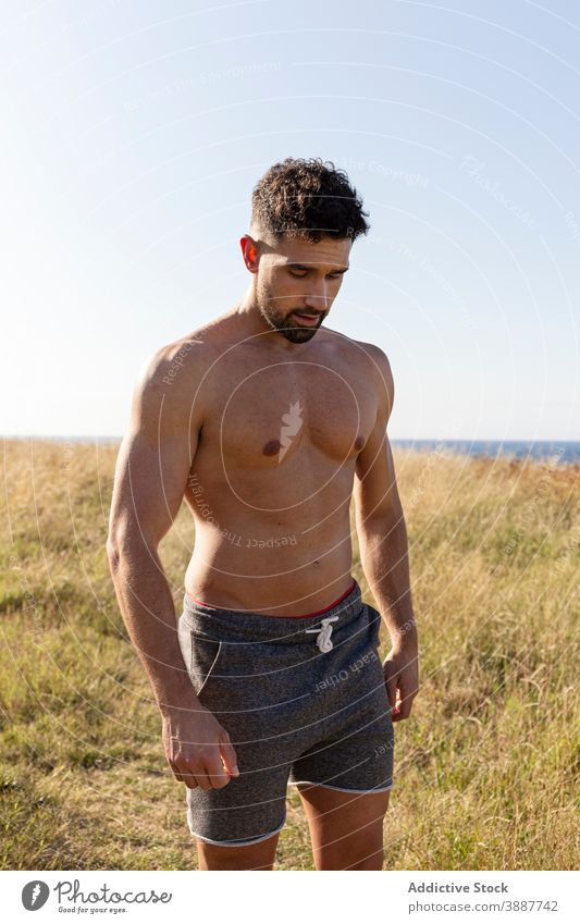 Shirtless strong man on meadow in summer shirtless muscle bodybuilder naked torso sportsman athlete hill male grassy determine nature sportswear wellbeing