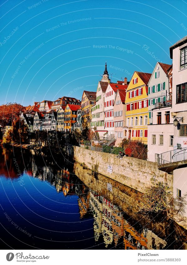 Old town of Tübingen Town Architecture Facade Downtown Manmade structures Exterior shot Building Nekar, river, tourism, Germany