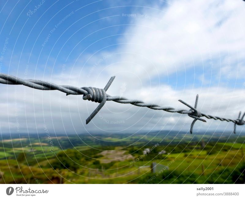 locked... Wire Barbed wire Barbed wire fence Landscape Fence cordon forbidden Safety peril Dangerous Border Barrier Protection interdiction Threat