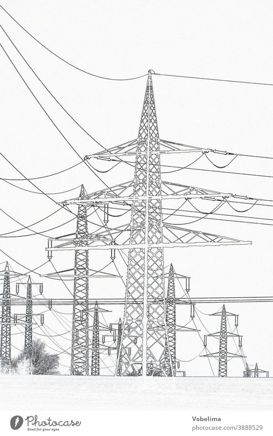 High voltage pylons, graphically processed High voltage power line transmission line stream Electricity pylon Power poles Energy high voltage Energy generation