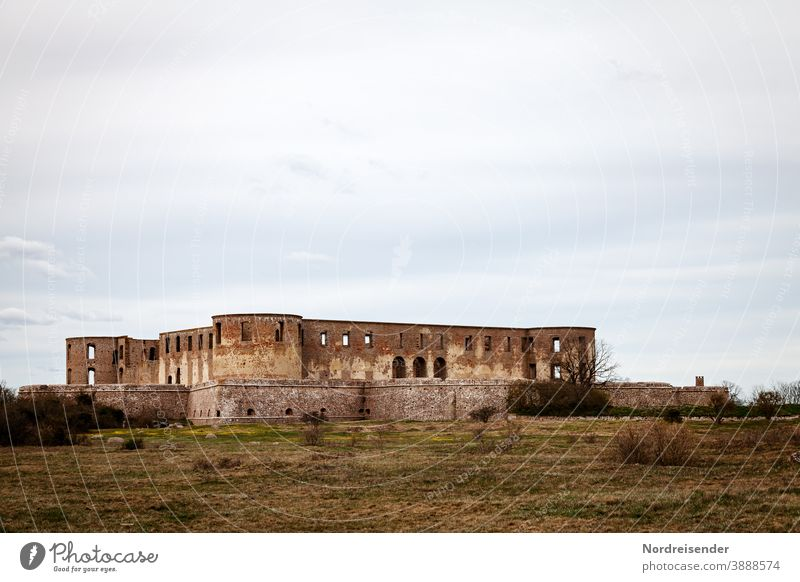 Borgholm Castle on the Baltic Sea island of Öland in Sweden Copy Space top Exterior shot Colour photo Medieval times Broken Monument Landmark Ruin Architecture