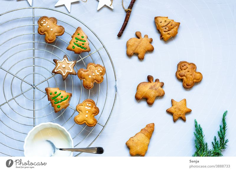 Gingerbread biscuits decorated with icing on a grid Cookie Icing Metal grid baked Christmas & Advent Self-made Decoration Public Holiday Baking Tradition cute