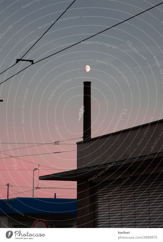 moon over chimney Moon Industry Chimney Red Sunset Sky Factory Environmental pollution Climate change Industrial plant Exterior shot Colour photo
