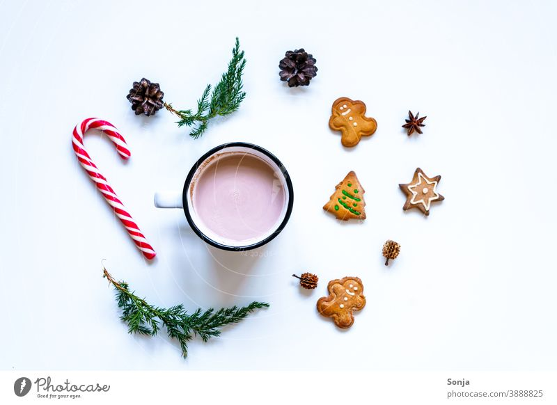 A cup of cocoa with gingerbread cookies and a candy cane on a white table Hot Chocolate Cup Hot drink Gingerbread Cookie Candy cane Christmas & Advent Tradition