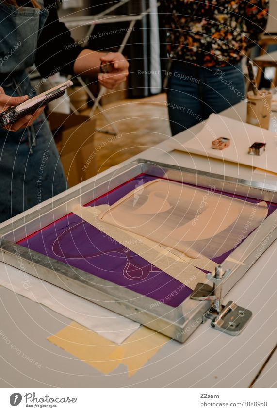 Screen printing workshop / screen Pressure illustration Production silver factory Workshop printing plates sieves templates Craft (trade) creatively creation