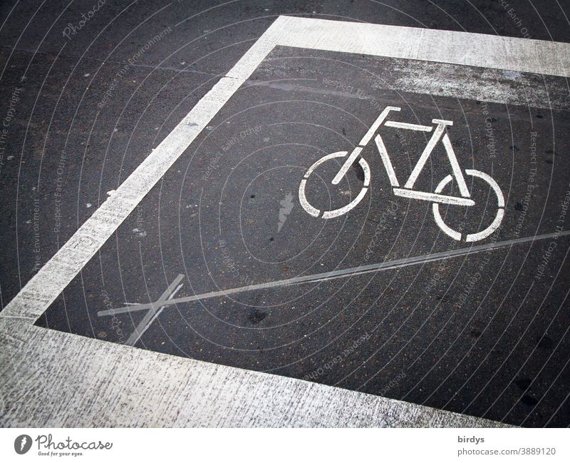 Cycle path marking, road marking on a road before a traffic light cycle path Road marking Bicycle Lane markings Street lines Asphalt Contact loop Transport