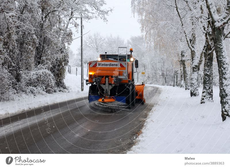 winter road clearance Frost industrial machine Sand Transport Winter Snowstorm car Town neat cleaning clearing Climate chill De-icing gear Frozen Ice Icing