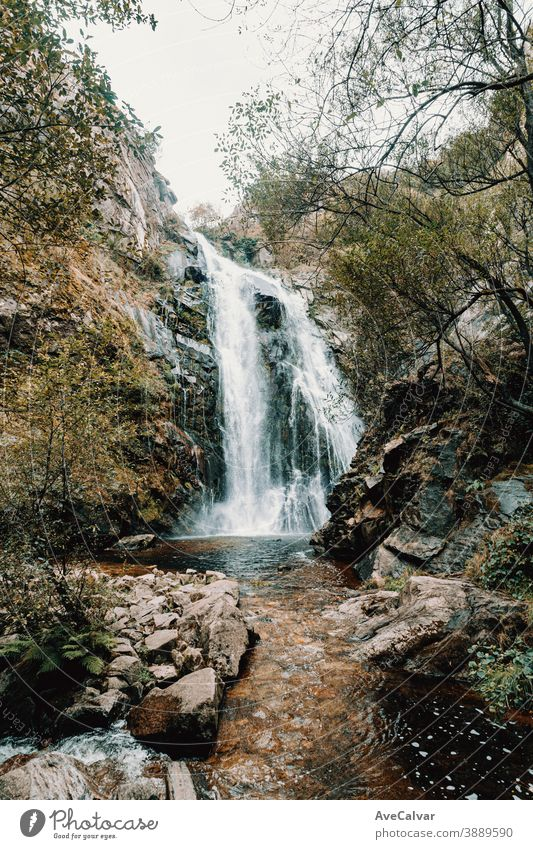 Colorful shot of a massive waterfall in the forest nature tree western serene scenery natural peaceful foliage landscape cascade national mountain park