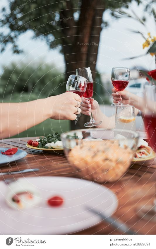 Family making toast during summer outdoor dinner in a home garden feast having picnic food man together woman barbecue table eating gathering people lifestyle