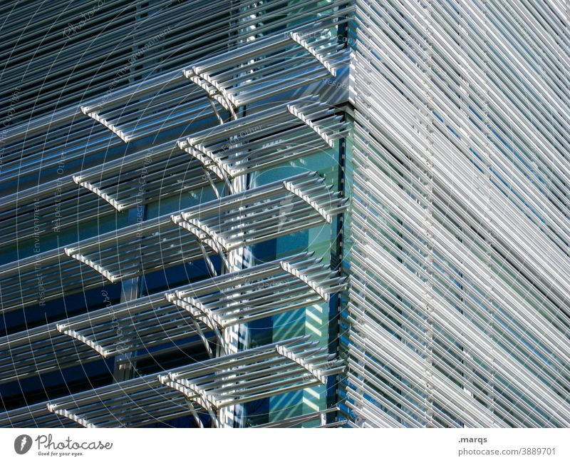 façade Facade Modern Metal Glass Sharp-edged Line Architecture Structures and shapes Building Pattern