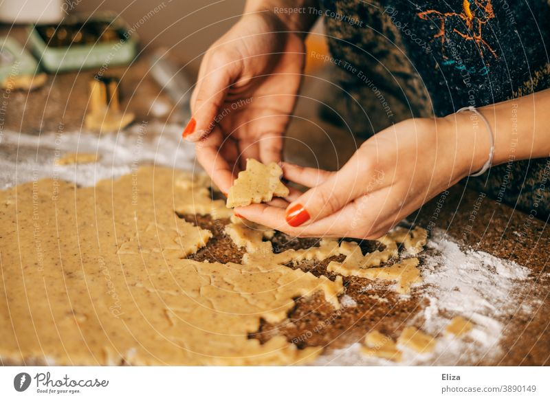 Christmas and Advent - A woman bakes Christmas cookies in the shape of a Christmas tree Christmas baking Cookie Baking fir trees bake cookies Christmas biscuit