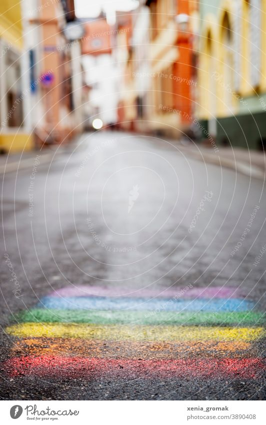rainbow Rainbow Colour Chalk Street Infancy Creativity Street painting Children's game LGBT gay lesbian Transgender Rainbow Family Prismatic colors