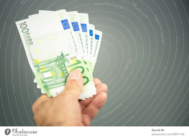 heaps of money in hand Bank note Money Luxury Euro € Possessions Shopping Placeholder Success Paying Income Save investment Revenue