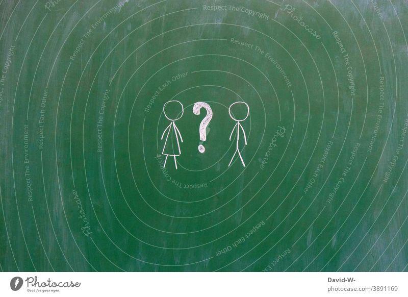 Woman man and question mark Gender Man ? Question mark gender compromise masculine feminine Communicate Ask Stick figure Blackboard Chalk intersexual