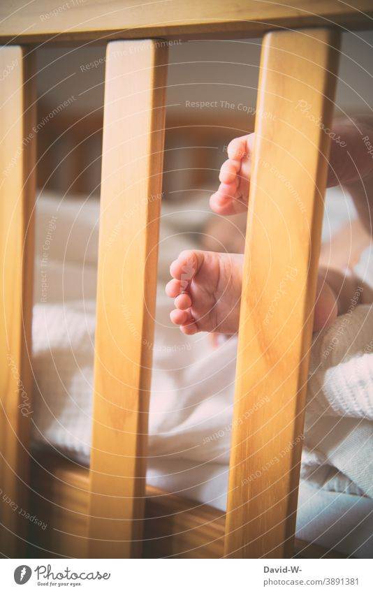 little feet of a baby at the crib Baby Toddler Cute baby feet Toes Small Sleep Infancy Delicate Bed