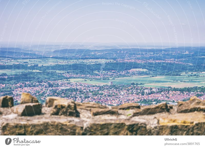 View from the Achalm castle ruin over the surroundings of Reutlingen, Baden-Württemberg, Germany. view overview city aerial view urban architecture travel