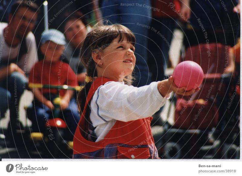 Woman Child Girl Summer Playing Ball Expectation