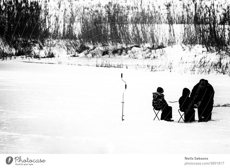 on frozen river. teaching children how to catch fish in winter. ice fishing black and white Ice Winter Cold Frost White Snow Tree learning father family