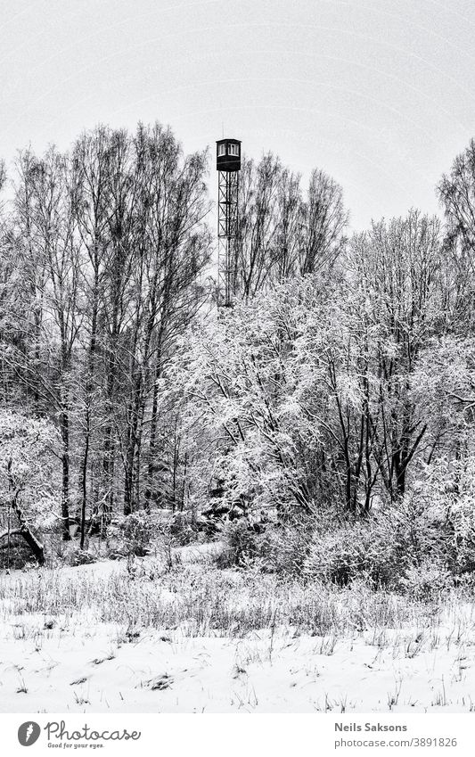 fire lookout tower in winter found in Latvian forest Architecture fireman camp cloud concentration Europe guard high landscape military nobody observation old