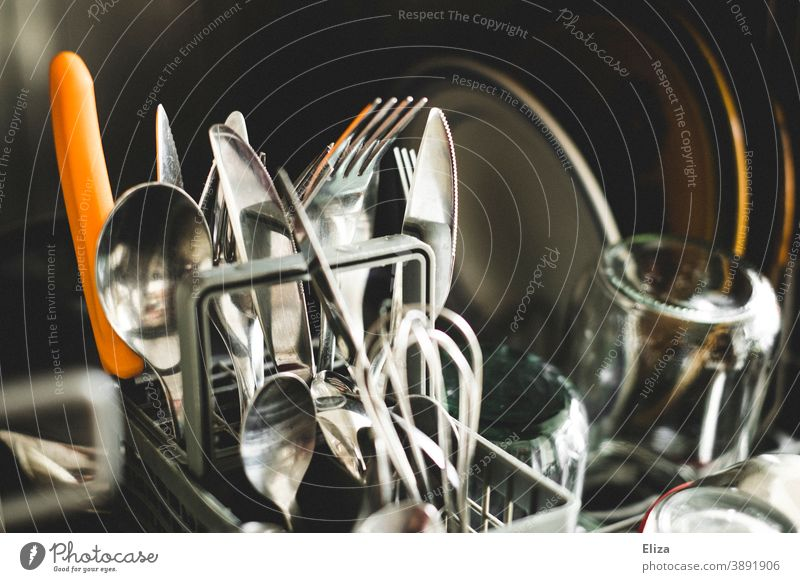 Cutlery and dishes in the dishwasher Crockery Kitchen Household neat granted