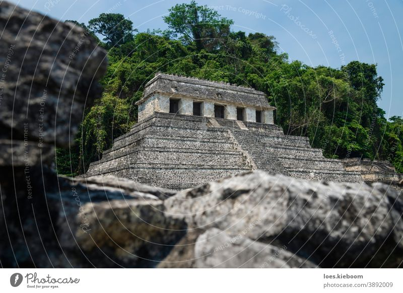 Temple of the inscriptions behind ruin wall at the archaeological Mayan site in Palenque, Chiapas, Mexico palenque maya ancient mayan tourism travel mexico