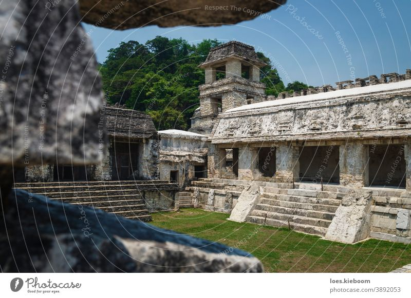 Patio in the Maya temple palace with observation tower, Palanque, Chiapas, Mexico palenque maya architecture mexico culture tourism civilization ancient