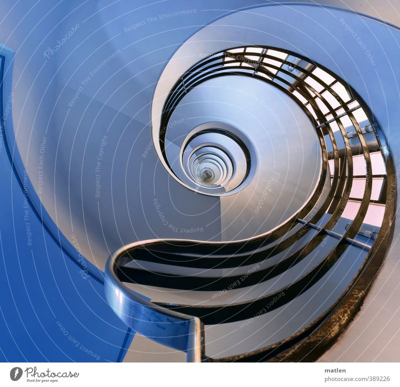 handrail Deserted House (Residential Structure) Building Wall (barrier) Wall (building) Stairs Glittering Blue Black White spin Banister Staircase (Hallway)