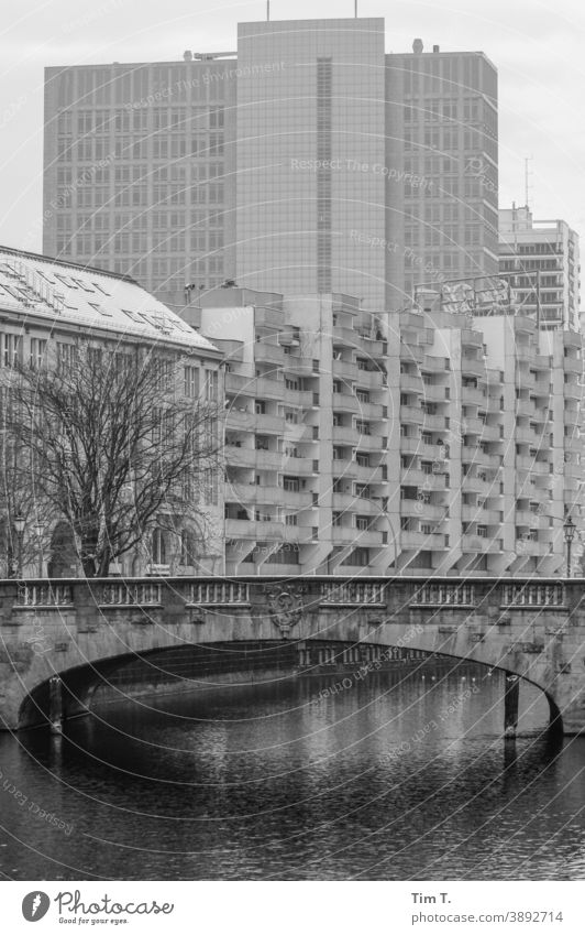 a bridge over a canal in a city in winter Winter Town Channel Water Exterior shot Deserted House (Residential Structure) Day Berlin Middle Building