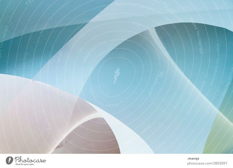 Double vault (3800) Double exposure Abstract Illustration light blue Swing Round Vault Modern Exceptional Style Design Lifestyle Background picture Elegant