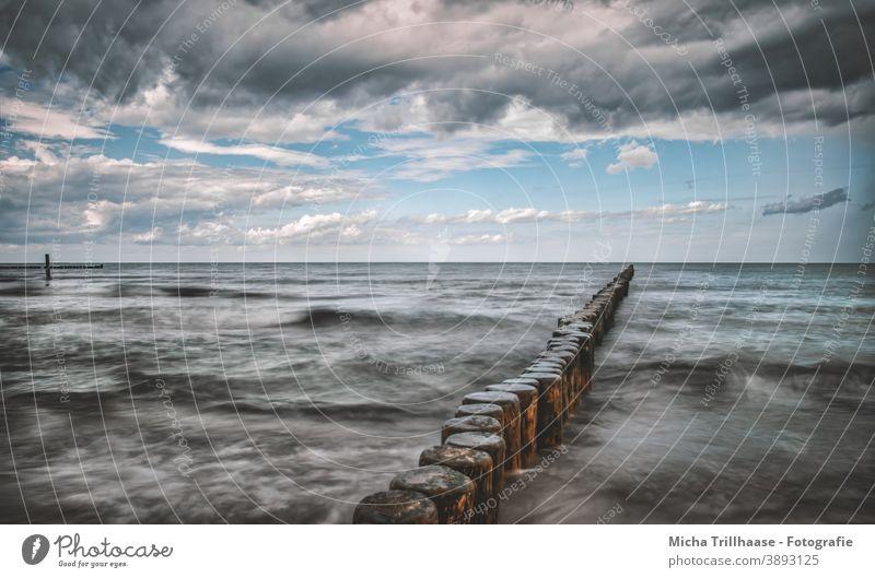 Groynes in rough sea Baltic Sea Island Usedom Koserow Ocean groynes Rough Rough Sea Water Waves Horizon Sky Clouds Landscape Nature