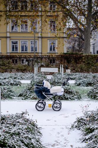Pram in a snowy garden Snow Garden Frost Winter Cold Ice Freeze Frozen Baby carriage City life Town White November December January Newborns To go for a walk