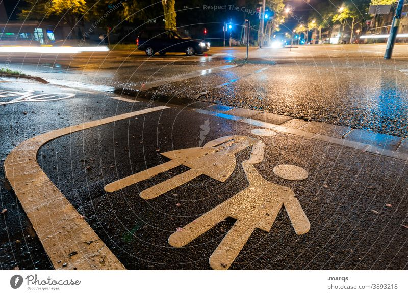 pedestrian crossing at night Night Road traffic Street Pedestrian crossing Traffic light Safety Child Mother Pictogram Lane markings Lanes & trails