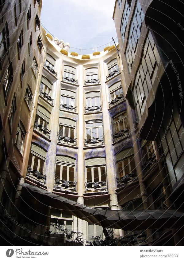 House (Residential Structure) Art Architecture Roof Historic Barcelona Interior courtyard